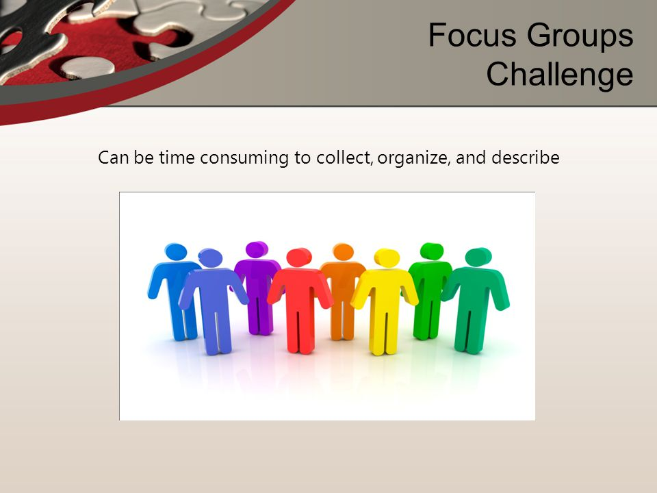Focus Groups Challenge Can be time consuming to collect, organize, and describe