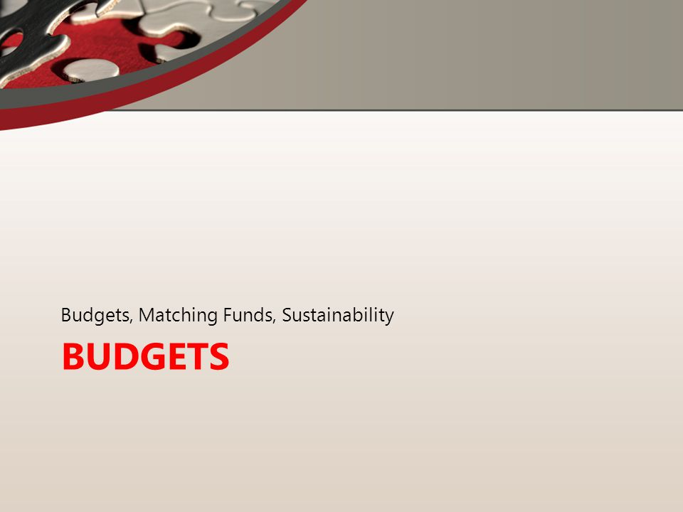 BUDGETS Budgets, Matching Funds, Sustainability