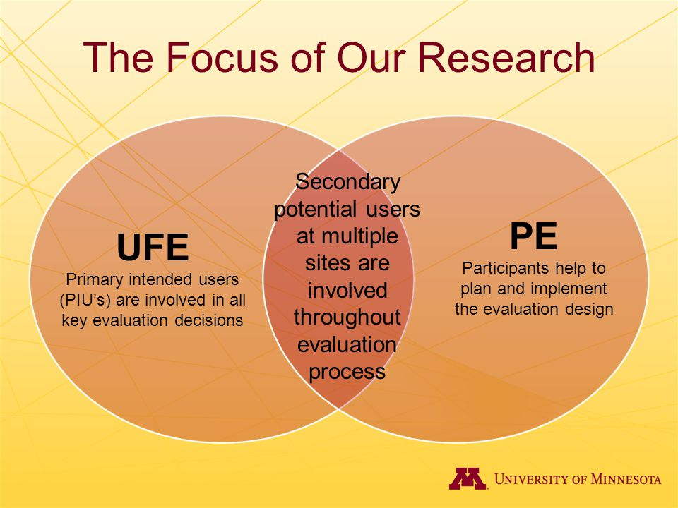 The Focus of Our Research UFE Primary intended users (PIU's) are involved in all key evaluation decisions PE Participants help to plan and implement t