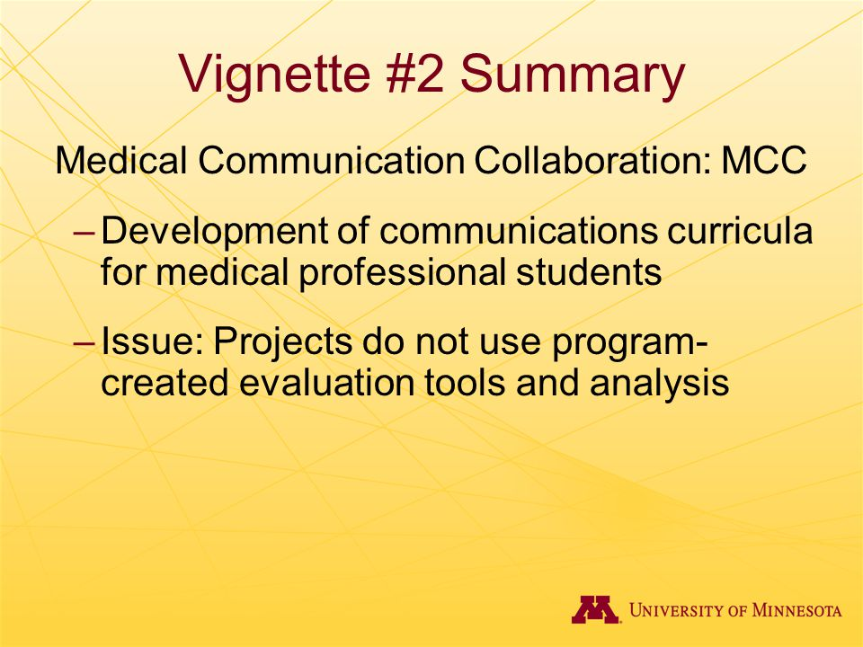 Vignette #2 Summary Medical Communication Collaboration: MCC –Development of communications curricula for medical professional students –Issue: Projec