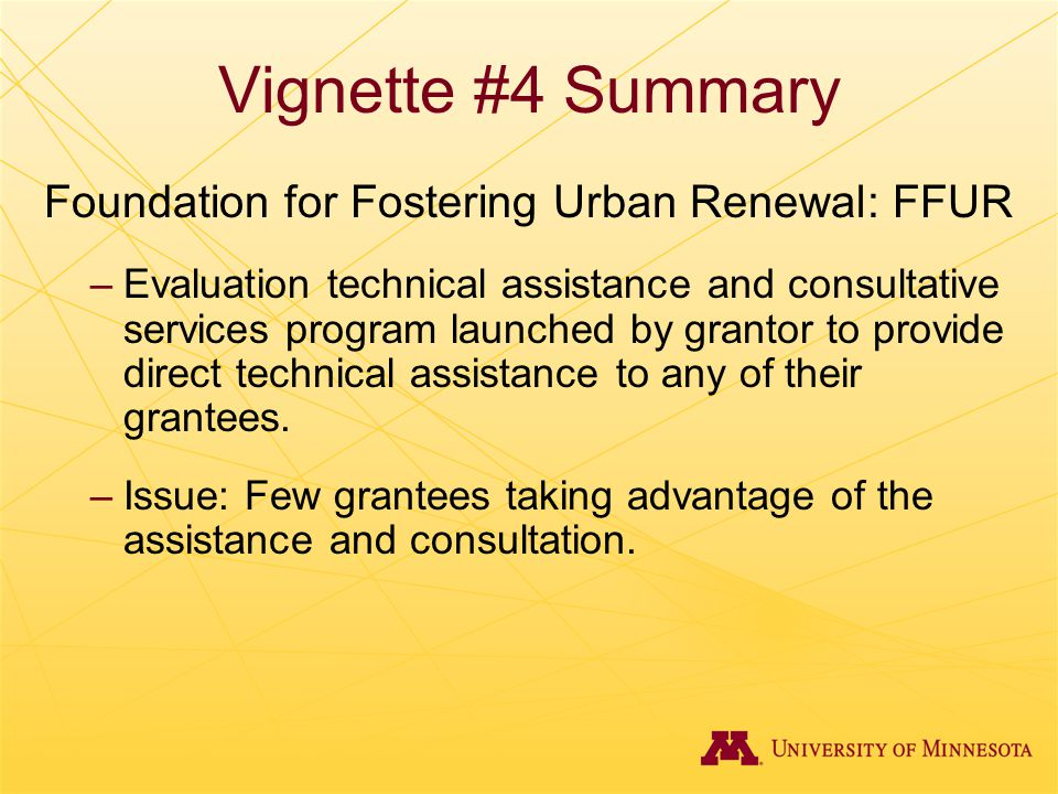 Vignette #4 Summary Foundation for Fostering Urban Renewal: FFUR –Evaluation technical assistance and consultative services program launched by granto