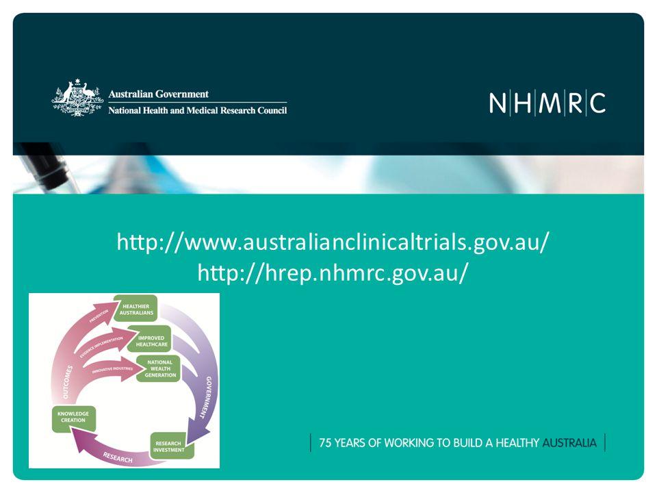 http://www.australianclinicaltrials.gov.au/ http://hrep.nhmrc.gov.au/