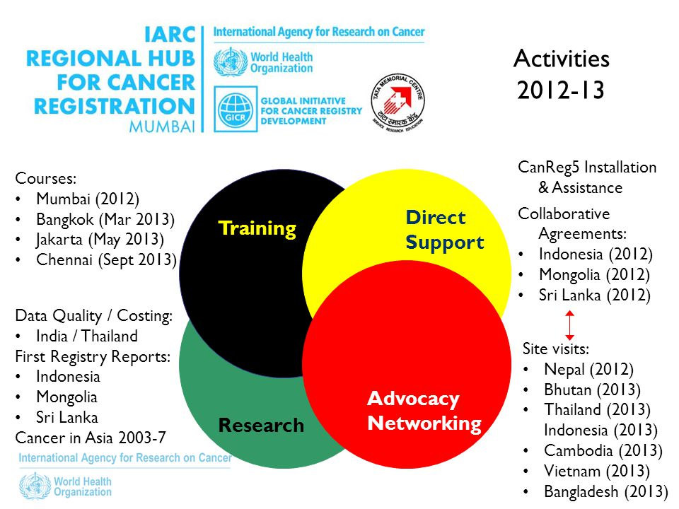 Research Training Advocacy Networking Direct Support CanReg5 Installation & Assistance Collaborative Agreements: Indonesia (2012) Mongolia (2012) Sri