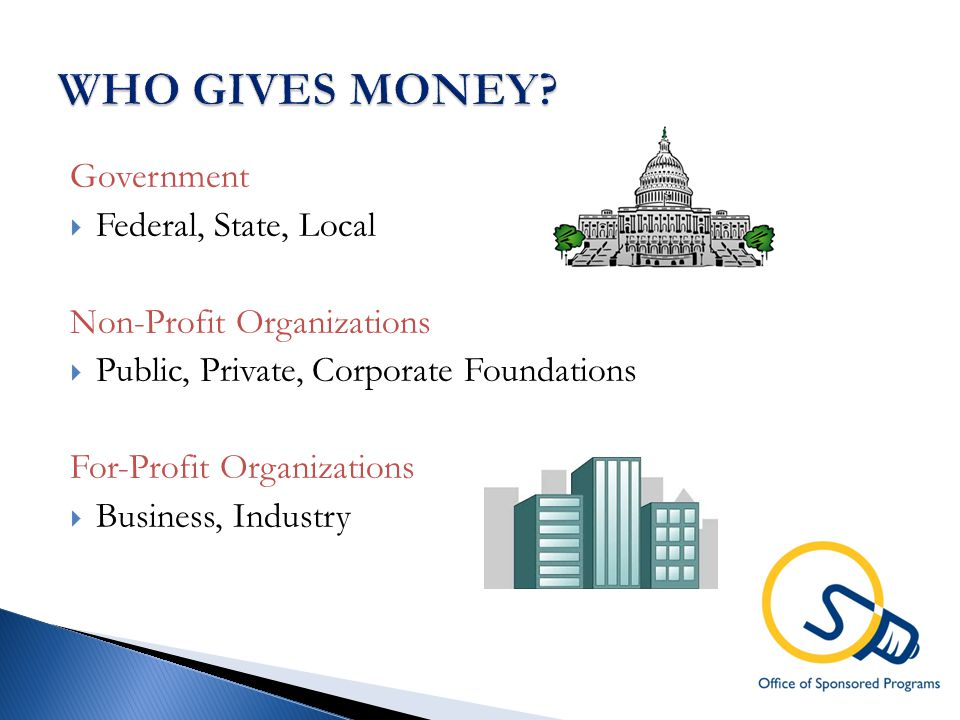 Government  Federal, State, Local Non-Profit Organizations  Public, Private, Corporate Foundations For-Profit Organizations  Business, Industry