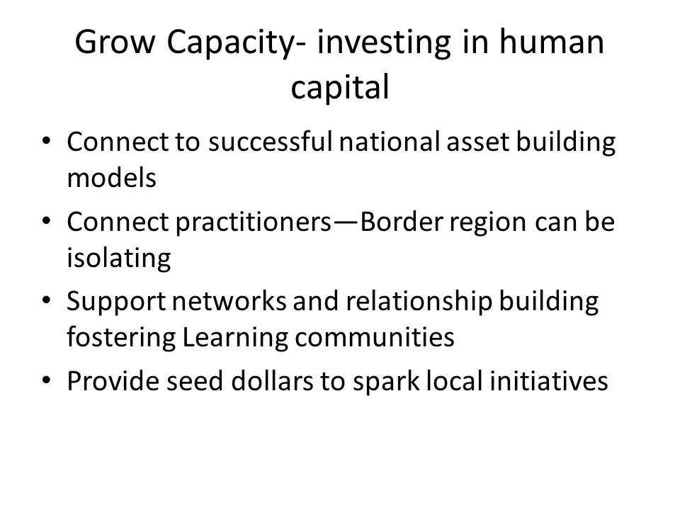 Grow Capacity- investing in human capital Connect to successful national asset building models Connect practitioners—Border region can be isolating Support networks and relationship building fostering Learning communities Provide seed dollars to spark local initiatives