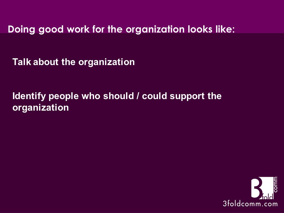 Talk about the organization Identify people who should / could support the organization Doing good work for the organization looks like: