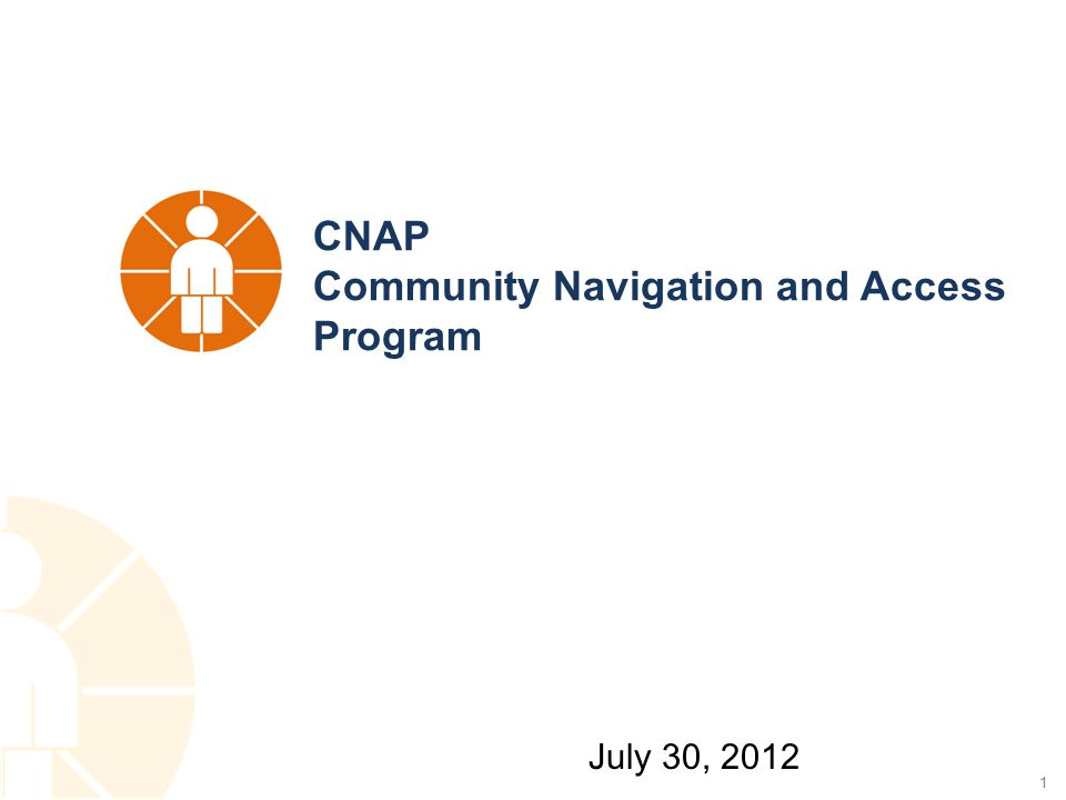 1 CNAP Community Navigation and Access Program July 30, 2012