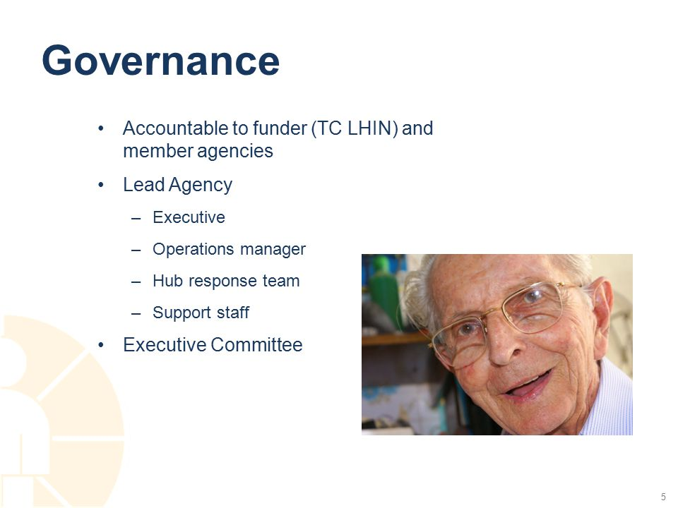 Governance Accountable to funder (TC LHIN) and member agencies Lead Agency –Executive –Operations manager –Hub response team –Support staff Executive Committee 5