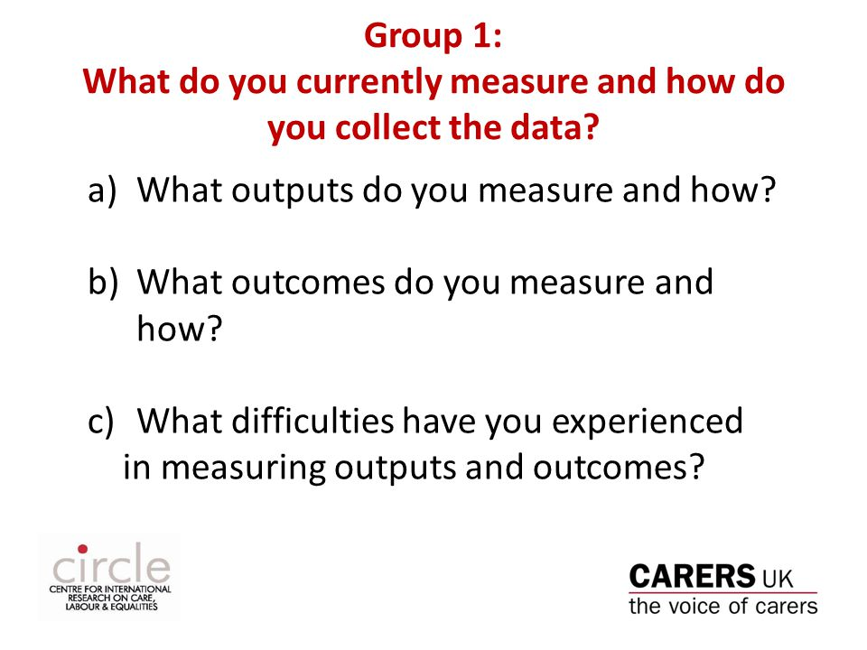 Group 1: What do you currently measure and how do you collect the data.