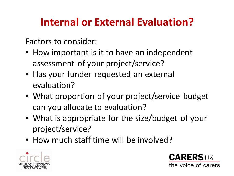 Internal or External Evaluation.