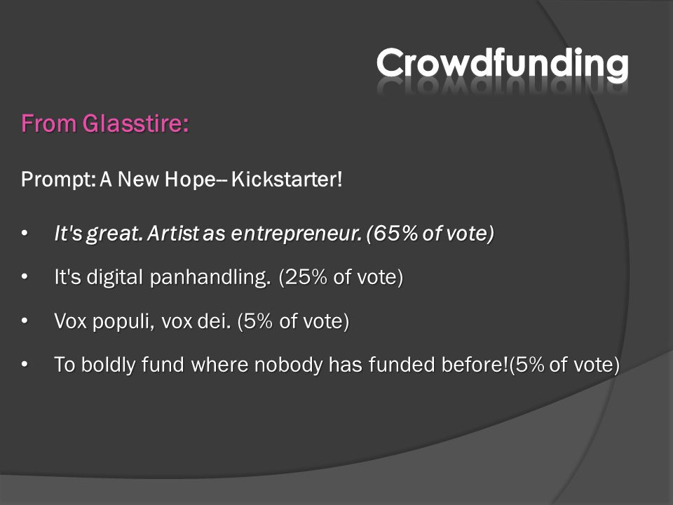 From Glasstire: Prompt: A New Hope-- Kickstarter! It's great. Artist as entrepreneur. (65% of vote) It's great. Artist as entrepreneur. (65% of vote)