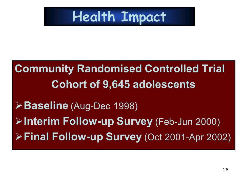 28 Health Impact Community Randomised Controlled Trial Cohort of 9,645 adolescents  Baseline (Aug-Dec 1998)  Interim Follow-up Survey (Feb-Jun 2000)