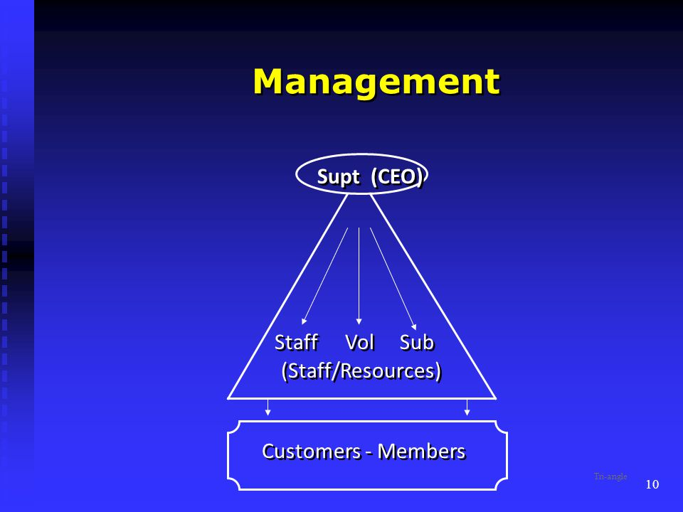 10 Management Supt (CEO) (Staff/Resources) Customers - Members Staff Sub Vol Tri-angle