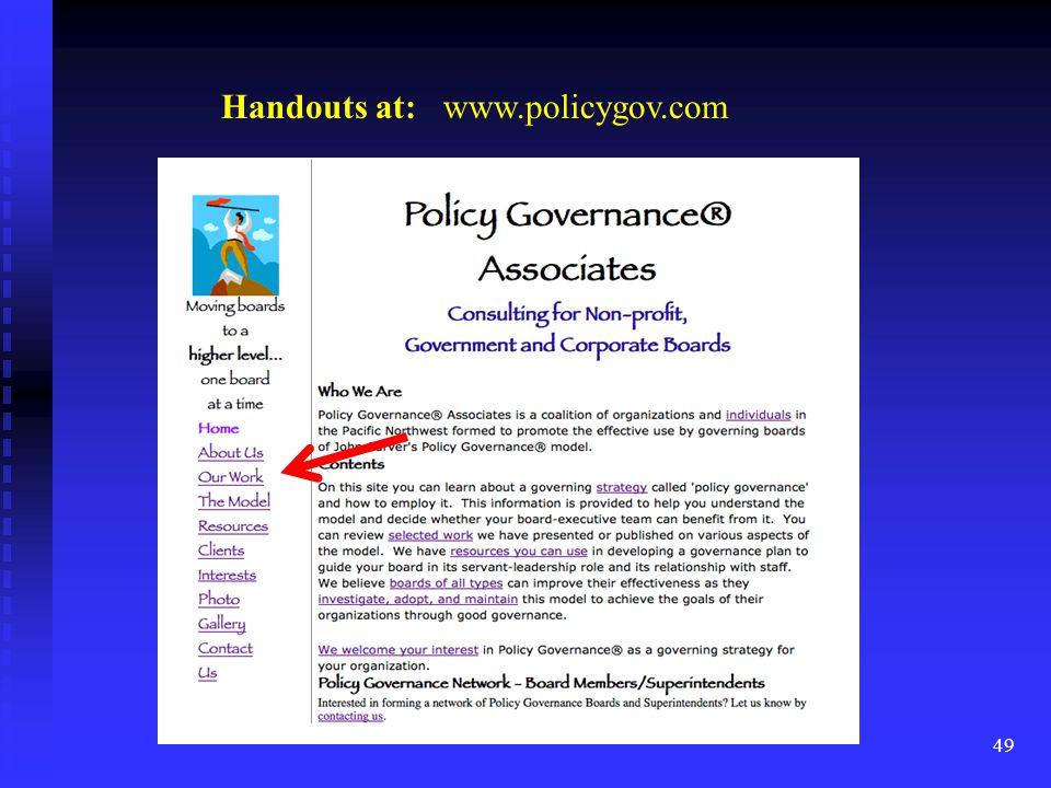 49 Handouts at: www.policygov.com