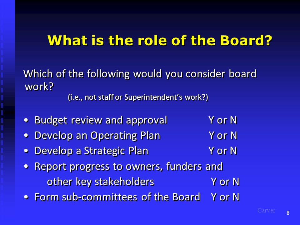 8 What is the role of the Board. Which of the following would you consider board work.