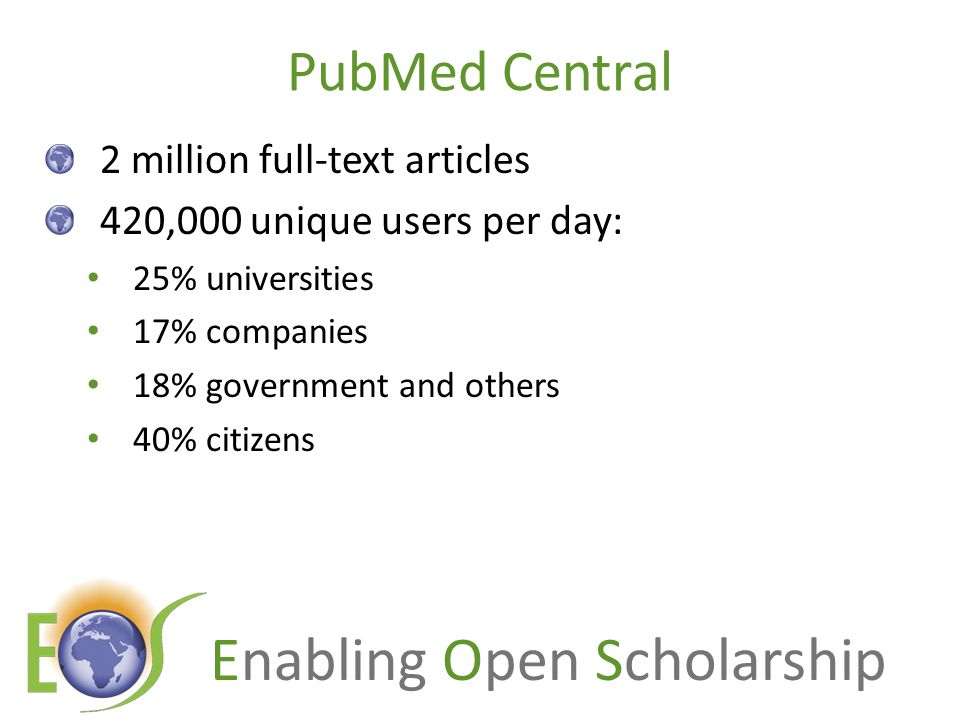 Enabling Open Scholarship PubMed Central 2 million full-text articles 420,000 unique users per day: 25% universities 17% companies 18% government and others 40% citizens