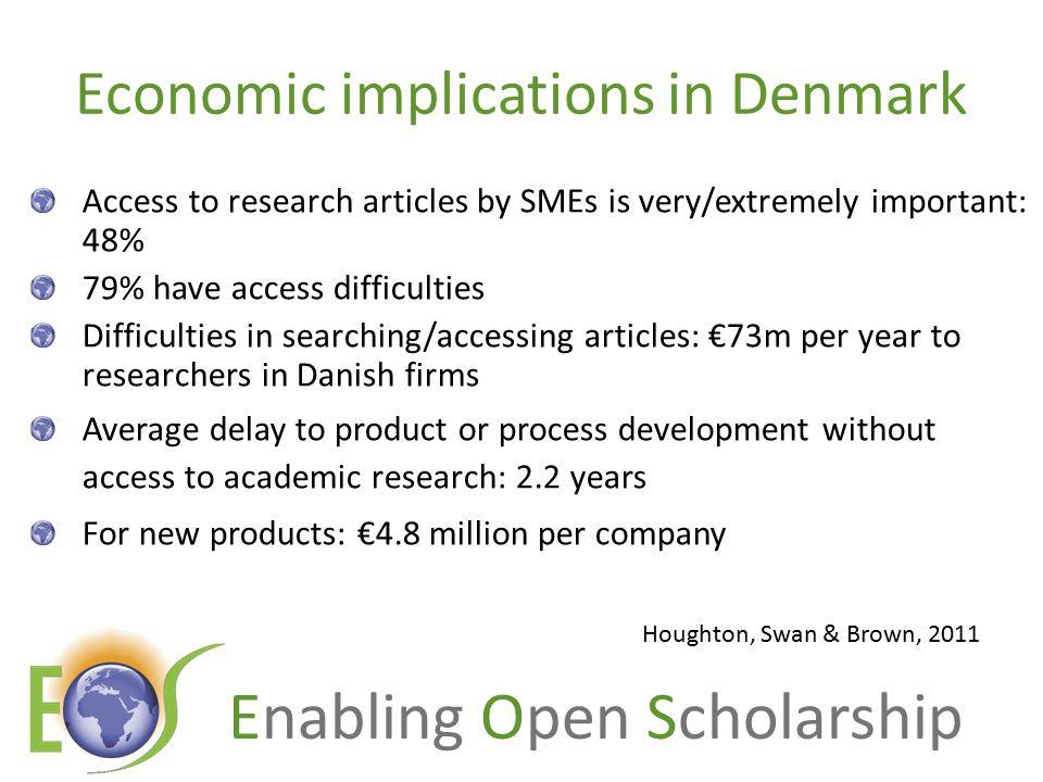 Economic implications in Denmark Access to research articles by SMEs is very/extremely important: 48% 79% have access difficulties Difficulties in searching/accessing articles: €73m per year to researchers in Danish firms Average delay to product or process development without access to academic research: 2.2 years For new products: €4.8 million per company Houghton, Swan & Brown, 2011