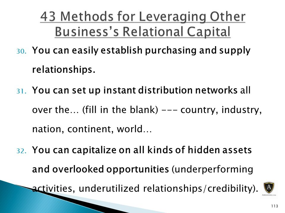 30. You can easily establish purchasing and supply relationships.