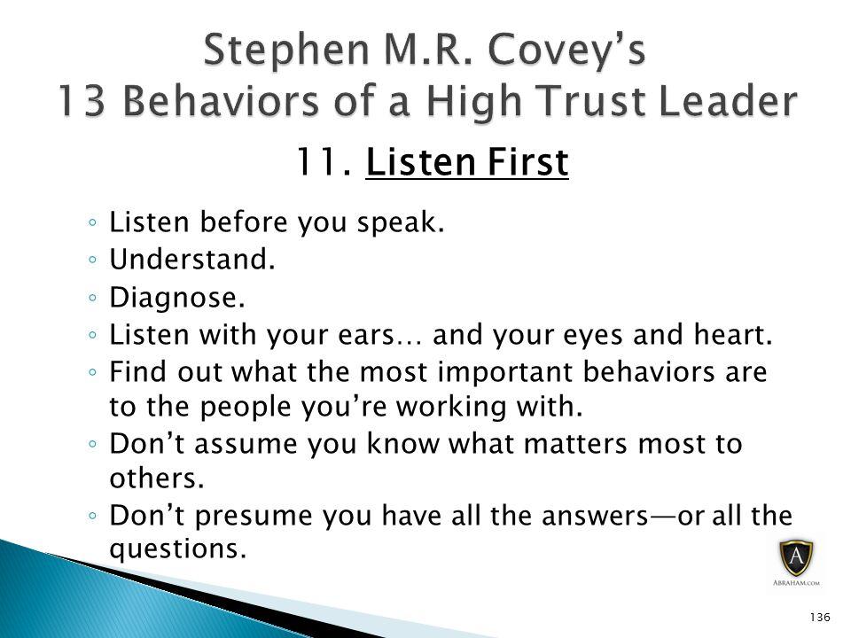 11.Listen First ◦ Listen before you speak. ◦ Understand.