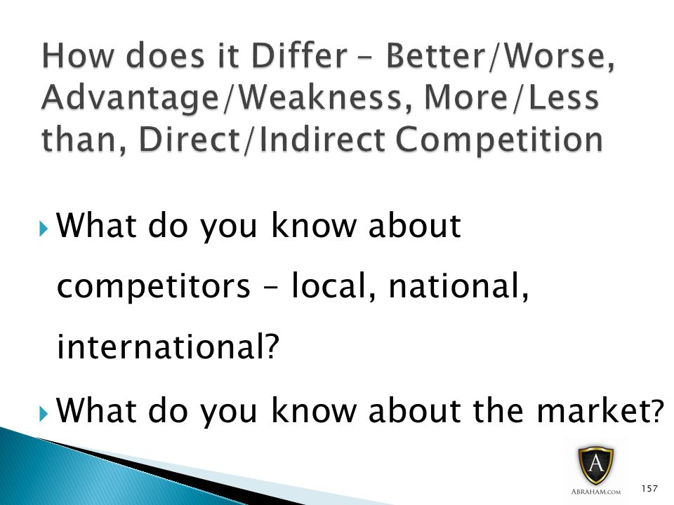  What do you know about competitors – local, national, international.