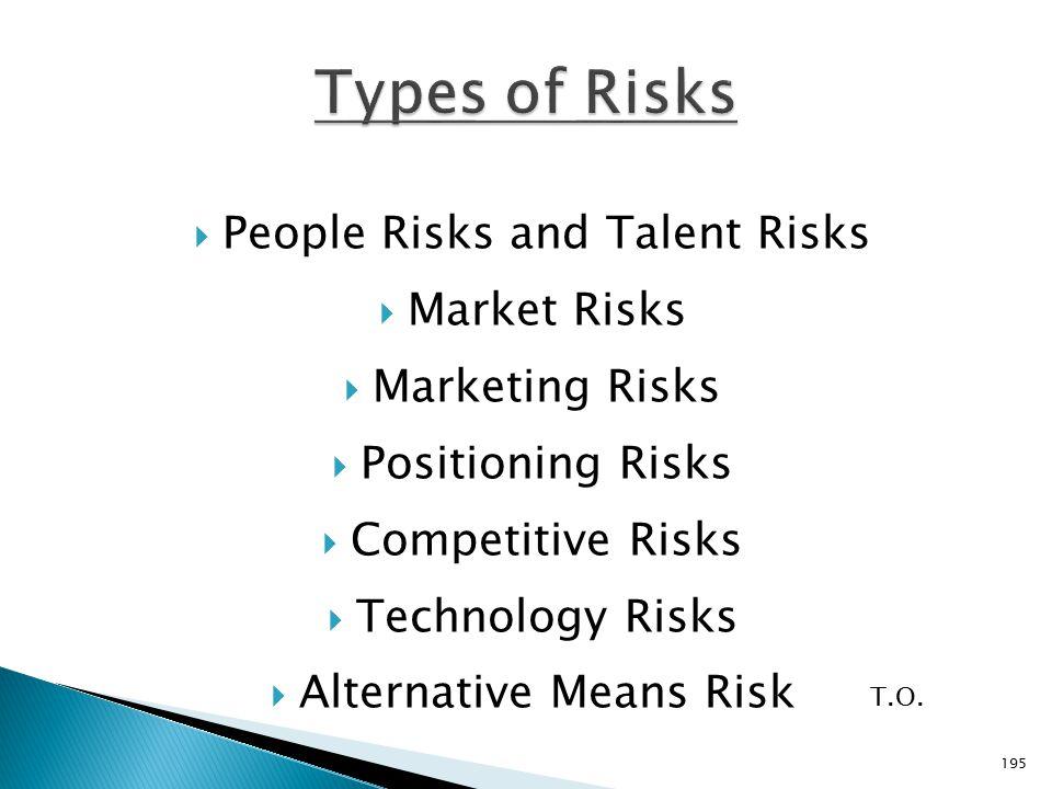  People Risks and Talent Risks  Market Risks  Marketing Risks  Positioning Risks  Competitive Risks  Technology Risks  Alternative Means Risk T.O.
