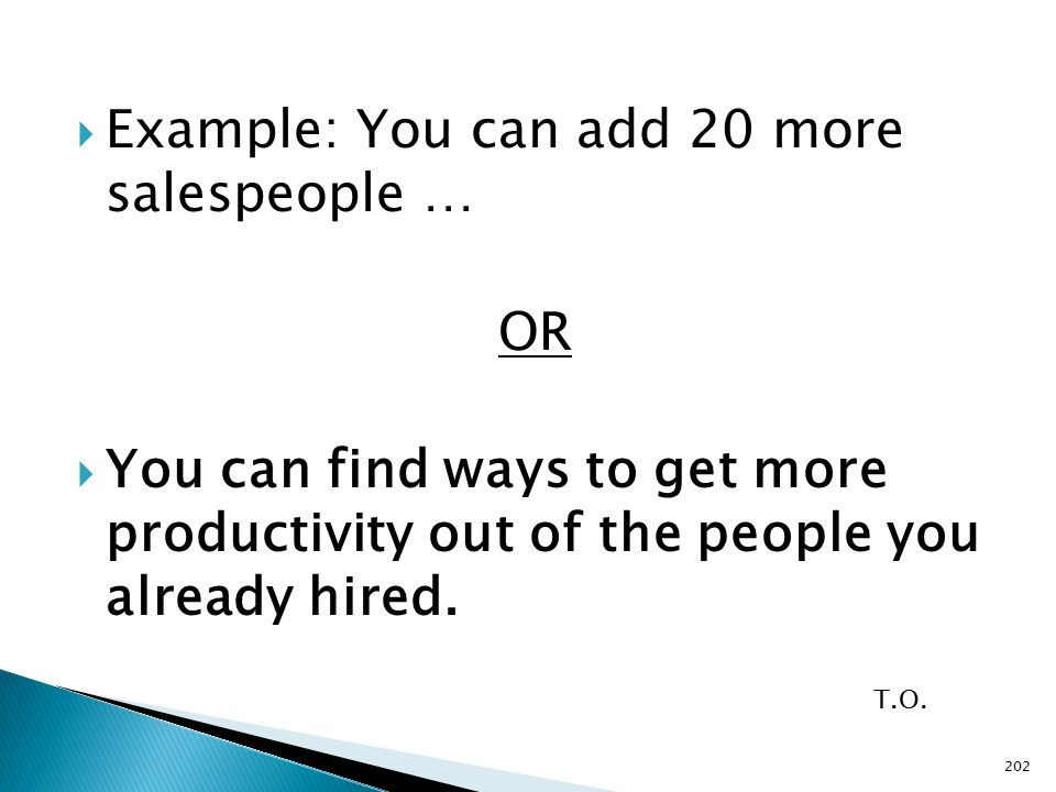  Example: You can add 20 more salespeople … OR  You can find ways to get more productivity out of the people you already hired.