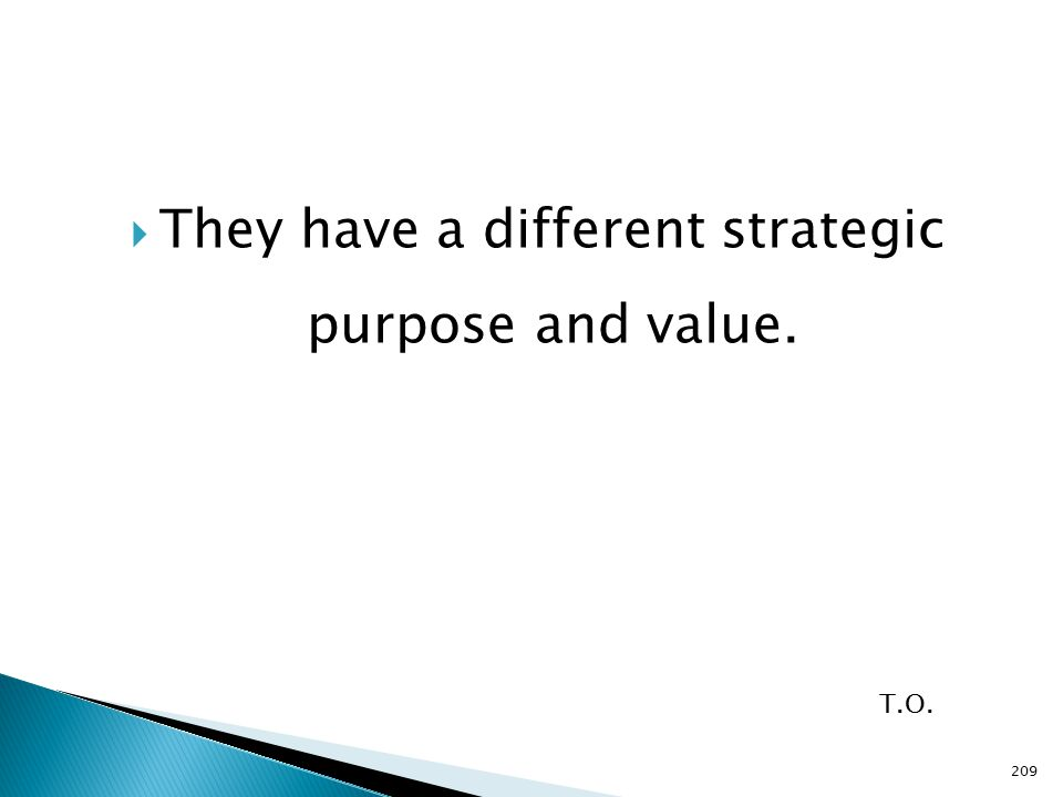  They have a different strategic purpose and value. T.O. 209