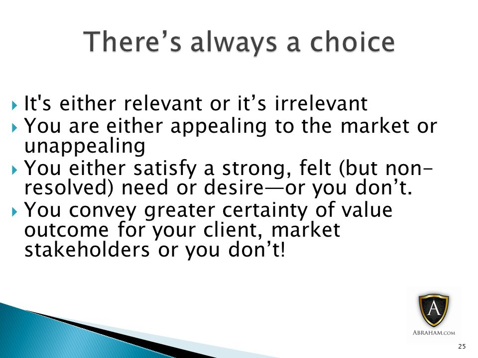  It s either relevant or it's irrelevant  You are either appealing to the market or unappealing  You either satisfy a strong, felt (but non- resolved) need or desire—or you don't.