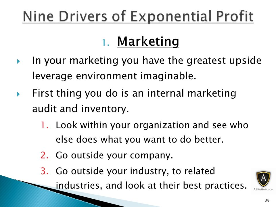 1. Marketing  In your marketing you have the greatest upside leverage environment imaginable.