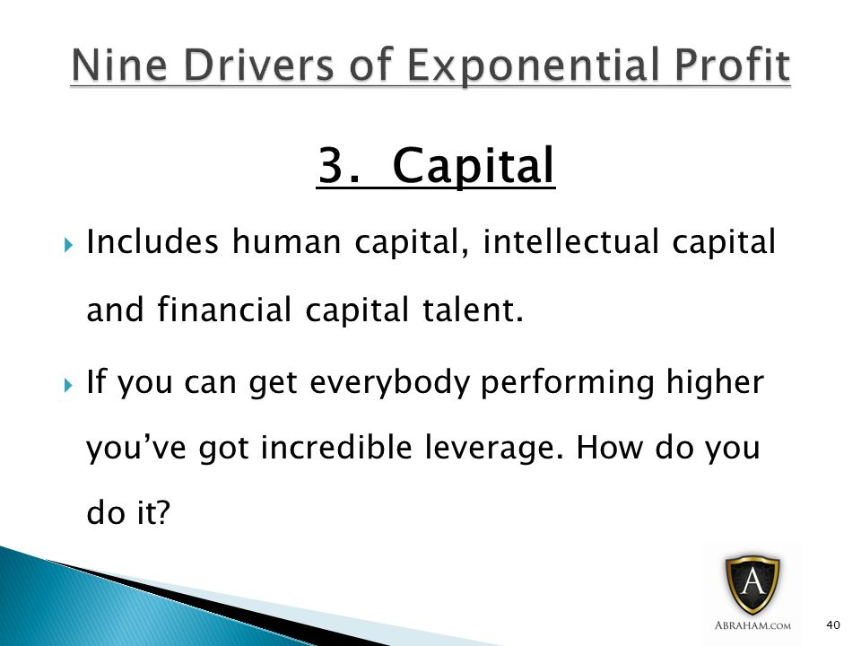 3.Capital  Includes human capital, intellectual capital and financial capital talent.