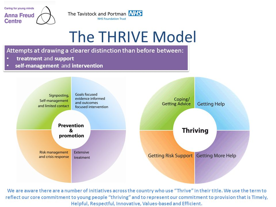 Performance management, quality improvement and The THRIVE Model Alongside The THRIVE Model, performance management can be approached with the MINDFUL model (Wolpert, 2014) A 6-step process applied to each of the four elements of THRIVE provision, lead by the relevant funder/commissioner 5 Staff are encouraged to try improvements aimed at addressing unwarranted variation and enhancing service quality Use of statistical process control methodology (e.g.: run charts) Use of PDSA cycles Use of learning sets