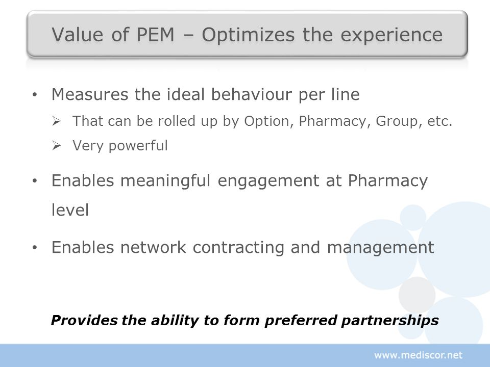 Measures the ideal behaviour per line  That can be rolled up by Option, Pharmacy, Group, etc.  Very powerful Enables meaningful engagement at Pharma