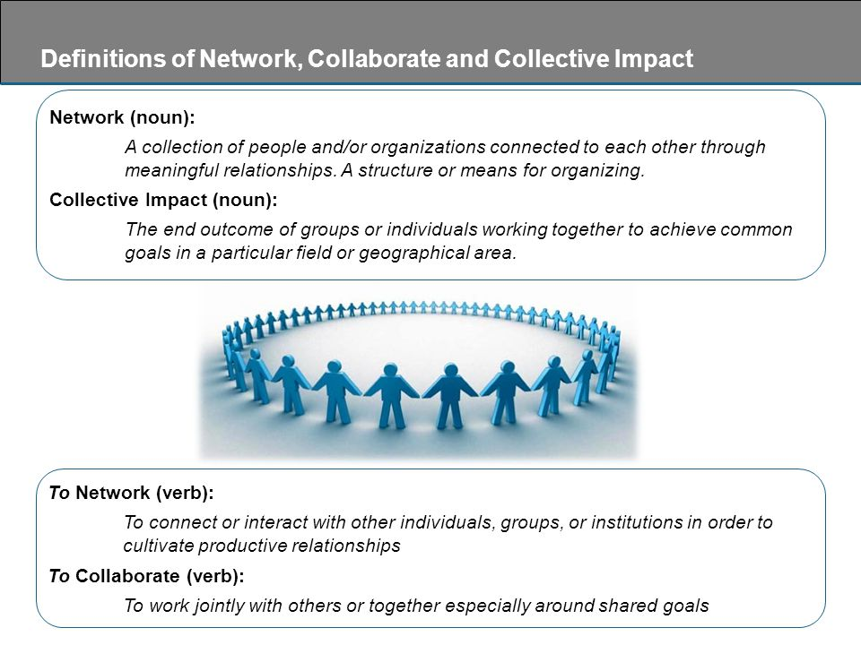 To Network (verb): To connect or interact with other individuals, groups, or institutions in order to cultivate productive relationships To Collaborate (verb): To work jointly with others or together especially around shared goals Network (noun): A collection of people and/or organizations connected to each other through meaningful relationships.
