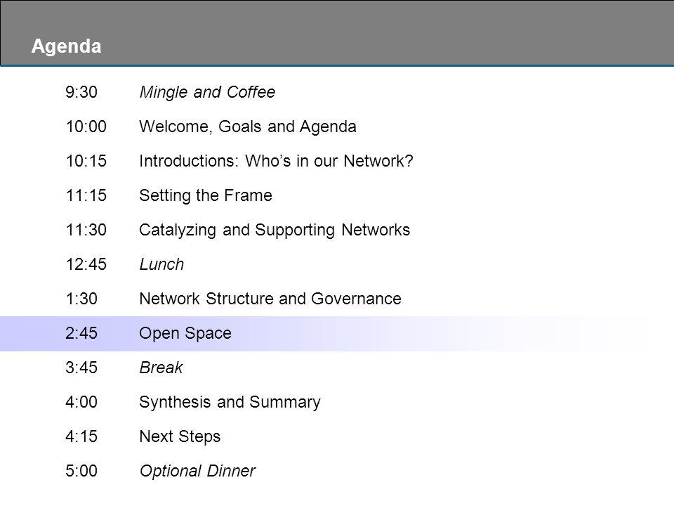 Agenda 9:30Mingle and Coffee 10:00Welcome, Goals and Agenda 10:15Introductions: Who's in our Network.