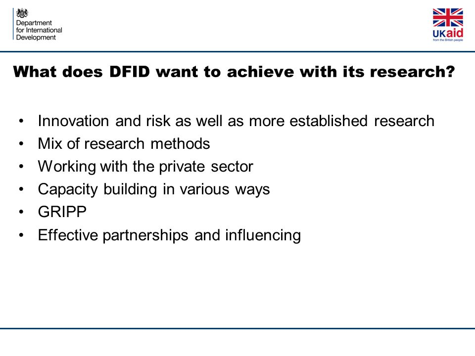 What does DFID want to achieve with its research.