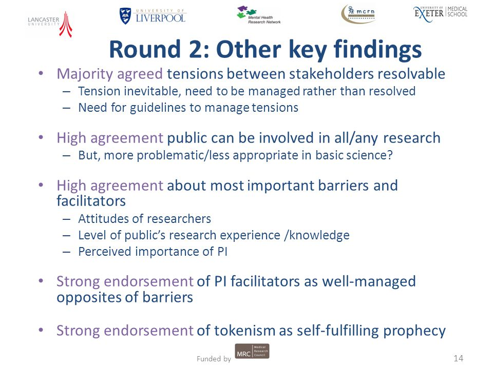 14 Funded by Round 2: Other key findings Majority agreed tensions between stakeholders resolvable – Tension inevitable, need to be managed rather than resolved – Need for guidelines to manage tensions High agreement public can be involved in all/any research – But, more problematic/less appropriate in basic science.