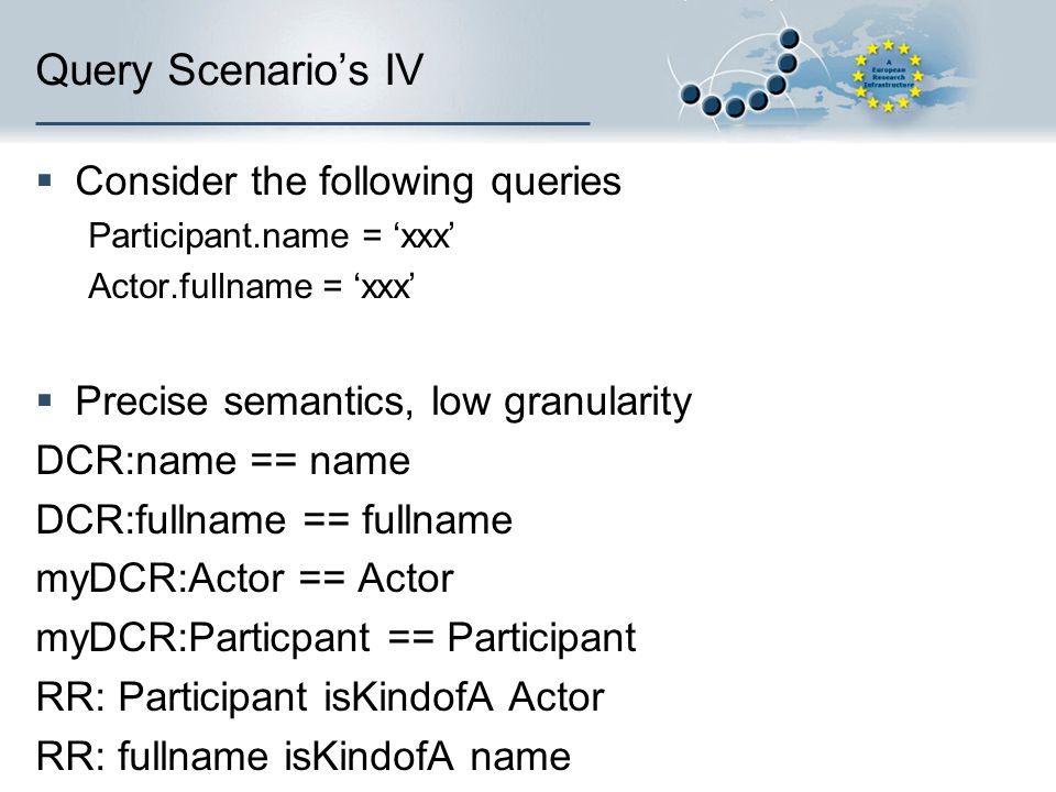 Query Scenario's IV  Consider the following queries Participant.name = 'xxx' Actor.fullname = 'xxx'  Precise semantics, low granularity DCR:name == name DCR:fullname == fullname myDCR:Actor == Actor myDCR:Particpant == Participant RR: Participant isKindofA Actor RR: fullname isKindofA name