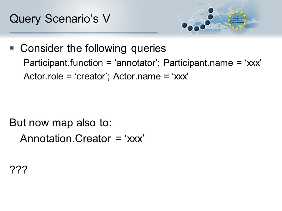 Query Scenario's V  Consider the following queries Participant.function = 'annotator'; Participant.name = 'xxx' Actor.role = 'creator'; Actor.name = 'xxx' But now map also to: Annotation.Creator = 'xxx'