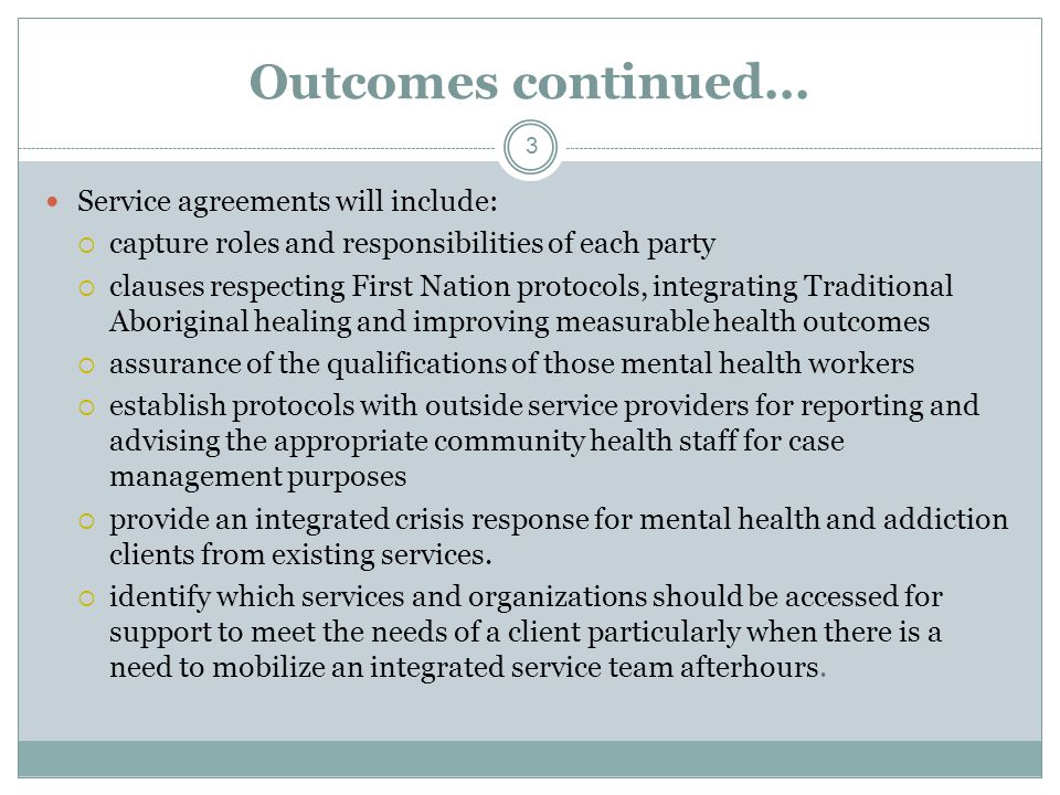 Outcomes continued...