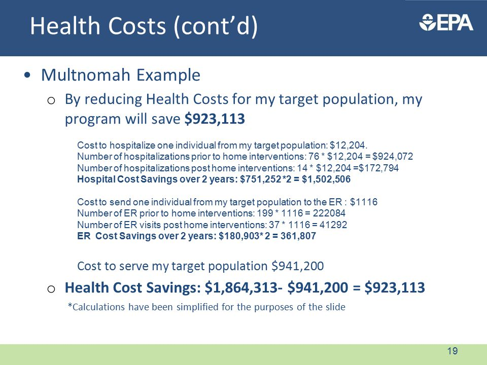 Health Costs (cont'd) Multnomah Example o By reducing Health Costs for my target population, my program will save $923,113 Cost to hospitalize one individual from my target population: $12,204.