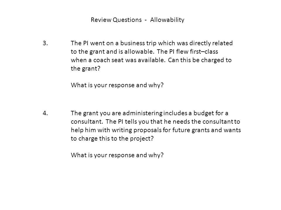 Review Questions - Allowability 3.
