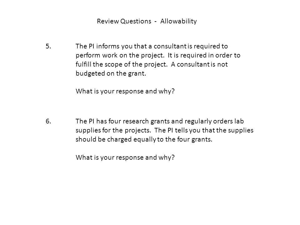 Review Questions - Allowability 5.