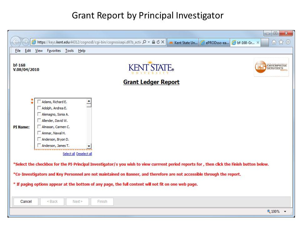 Grant Report by Principal Investigator