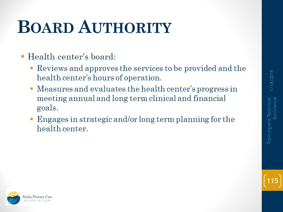 B OARD A UTHORITY  Health center's board:  Meets monthly.  Health centers with approved waivers ONLY: Appropriate strategies are in place to ensure
