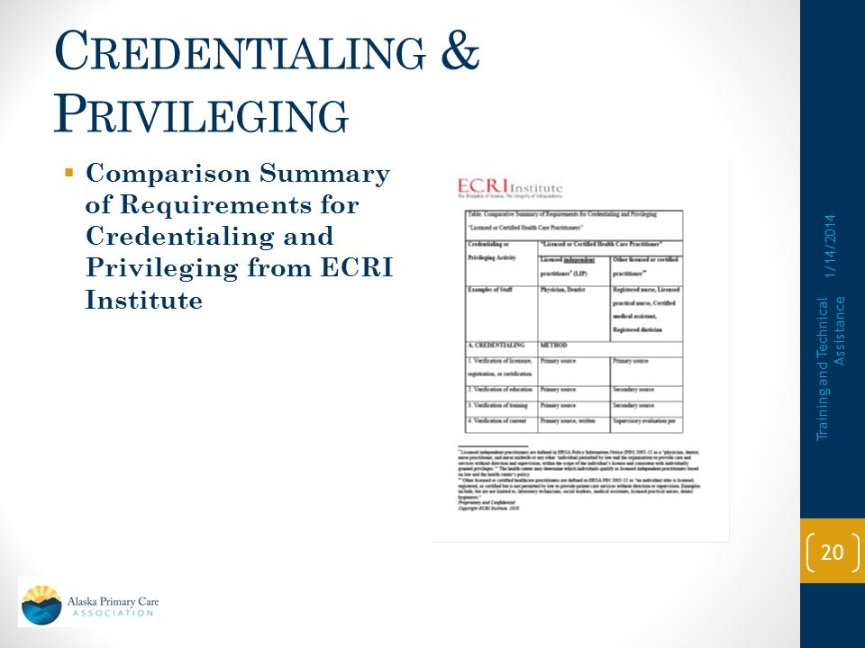 C REDENTIALING & P RIVILEGING  ECRI Institute has a Credentialing Toolkit at their website: https://www.ecri.org/Pages/default.aspxhttps://www.ecri.org/Pages/default.aspx  All HRSA Grantees can request access.