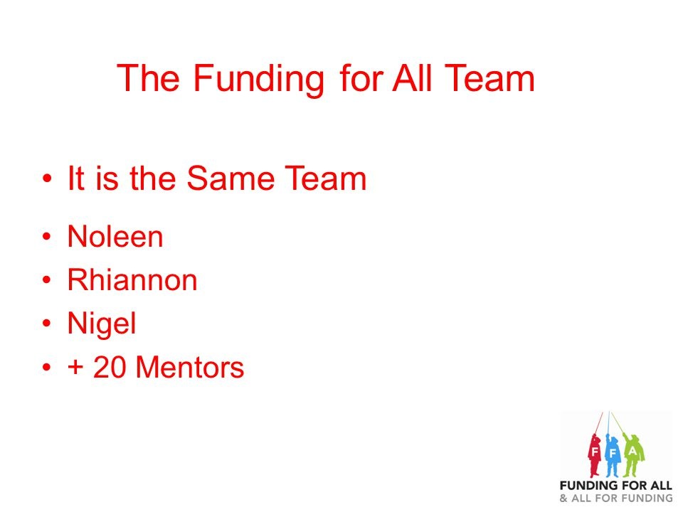 The Funding for All Team It is the Same Team Noleen Rhiannon Nigel + 20 Mentors