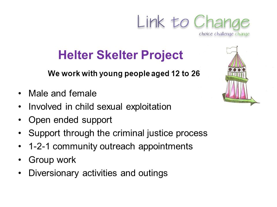 Helter Skelter Project We work with young people aged 12 to 26 Male and female Involved in child sexual exploitation Open ended support Support through the criminal justice process 1-2-1 community outreach appointments Group work Diversionary activities and outings