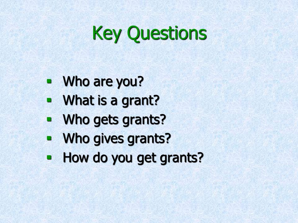 Key Questions  Who are you.  What is a grant.  Who gets grants.