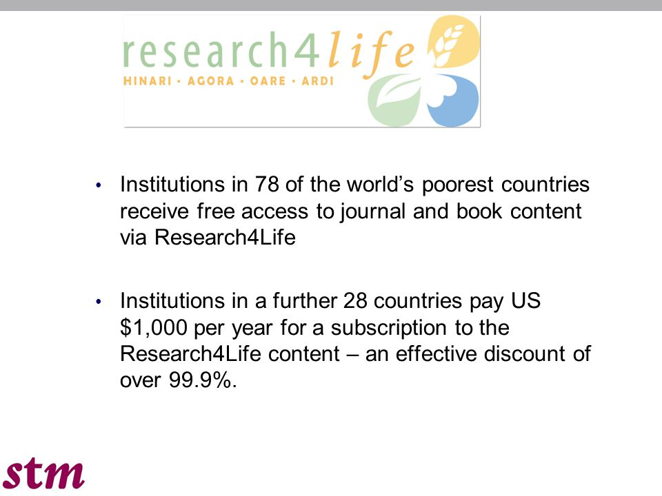 Institutions in 78 of the world's poorest countries receive free access to journal and book content via Research4Life Institutions in a further 28 cou