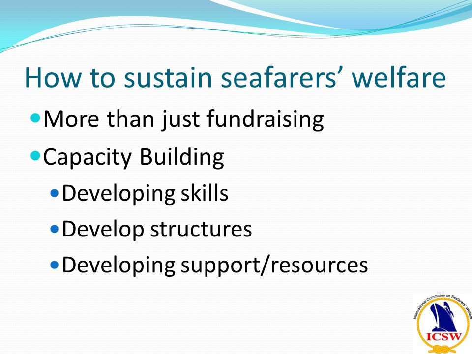Capacity Building Developing structures Developing skills Developing support/res ources Fundraising